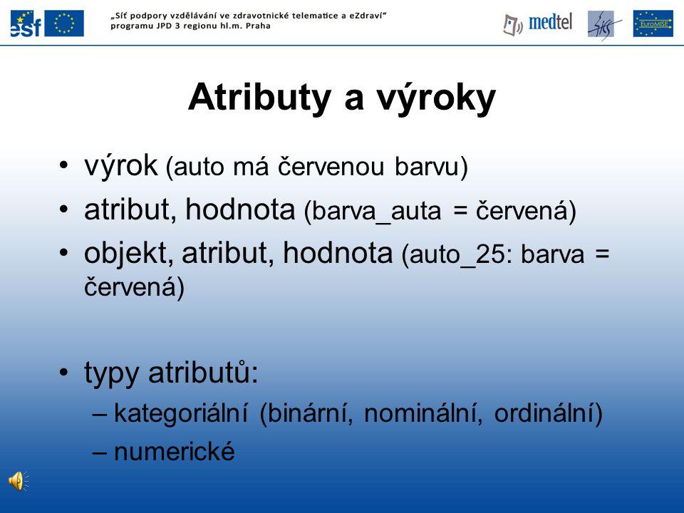 Atributy a výroky výrok (auto má červenou barvu) atribut, hodnota (barva_auta = červená) objekt, atribut, hodnota (auto_25: barva = červená) typy atributů: –kategoriální (binární, nominální, ordinální) –numerické