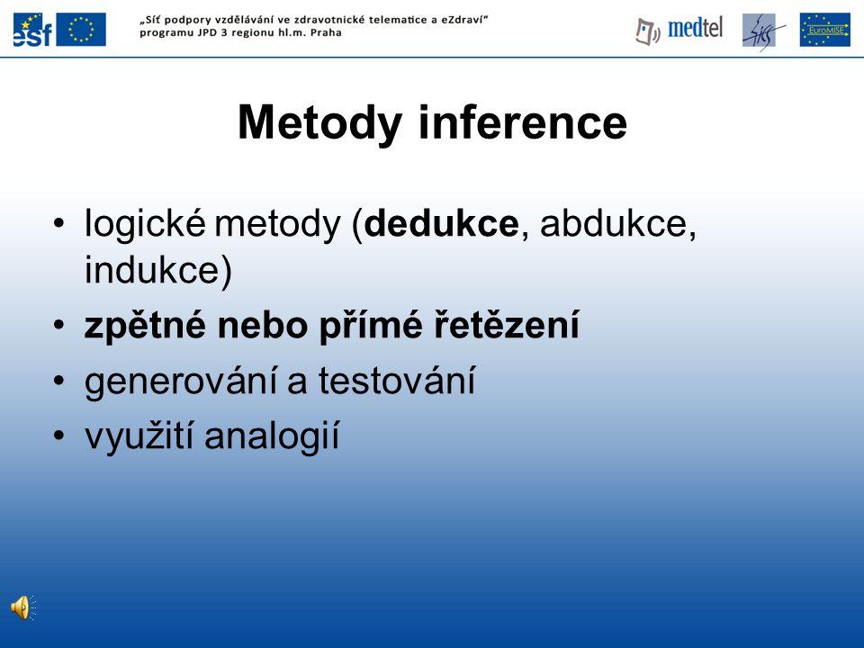 Metody inference logické metody (dedukce, abdukce, indukce) zpětné nebo přímé řetězení generování a testování využití analogií
