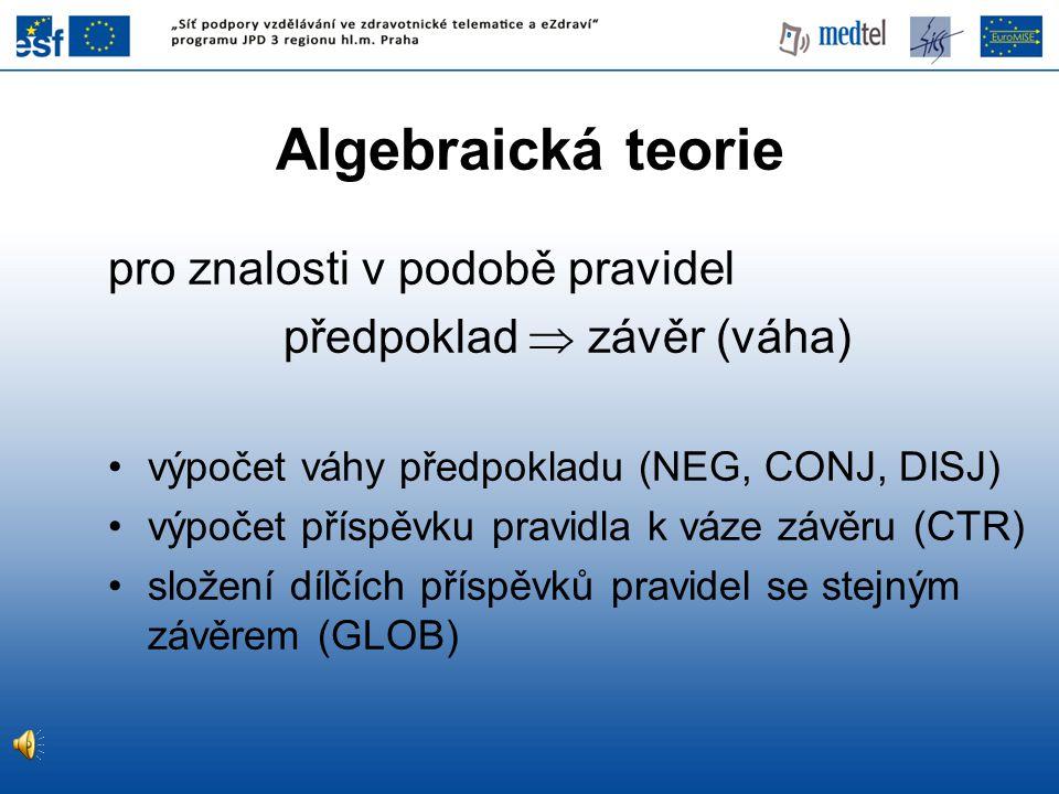Algebraická teorie pro znalosti v podobě pravidel předpoklad  závěr (váha) výpočet váhy předpokladu (NEG, CONJ, DISJ) výpočet příspěvku pravidla k váze závěru (CTR) složení dílčích příspěvků pravidel se stejným závěrem (GLOB)