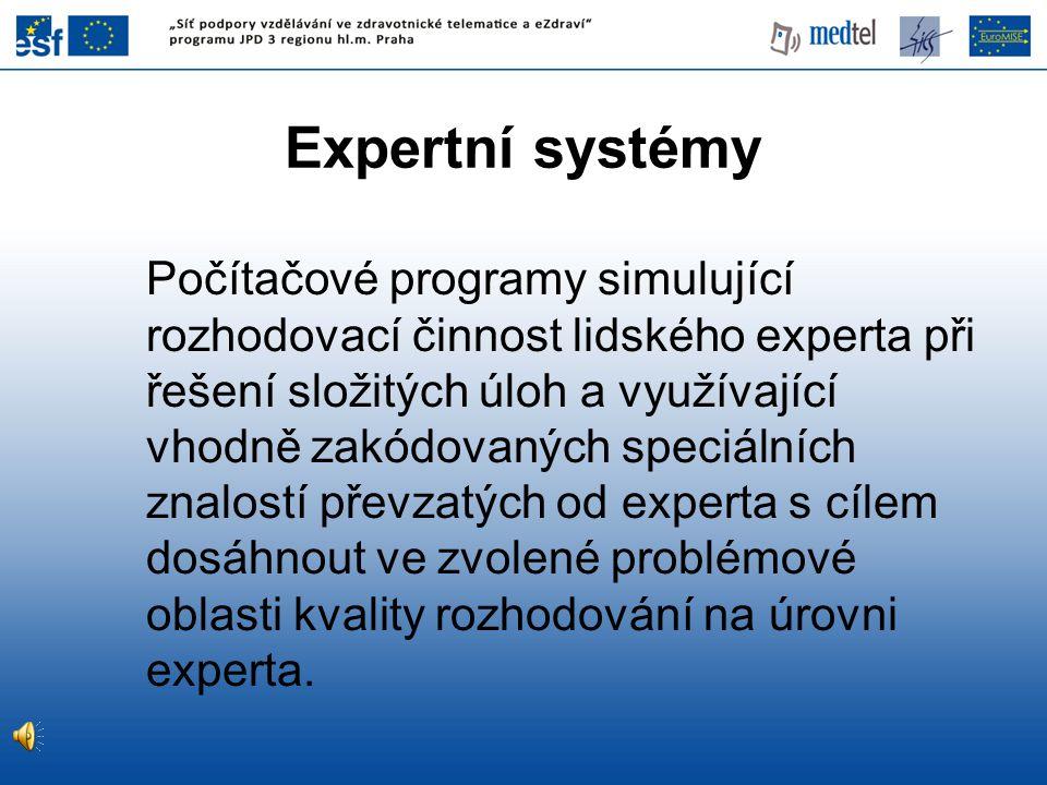 Expertní systémy Počítačové programy simulující rozhodovací činnost lidského experta při řešení složitých úloh a využívající vhodně zakódovaných speciálních znalostí převzatých od experta s cílem dosáhnout ve zvolené problémové oblasti kvality rozhodování na úrovni experta.