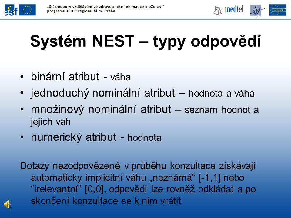 Systém NEST – typy odpovědí binární atribut - váha jednoduchý nominální atribut – hodnota a váha množinový nominální atribut – seznam hodnot a jejich
