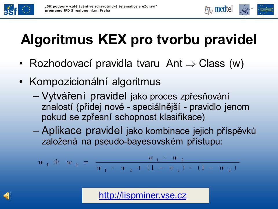 Algoritmus KEX pro tvorbu pravidel Rozhodovací pravidla tvaru Ant  Class (w) Kompozicionální algoritmus –Vytváření pravidel jako proces zpřesňování znalostí (přidej nové - speciálnější - pravidlo jenom pokud se zpřesní schopnost klasifikace) –Aplikace pravidel jako kombinace jejich příspěvků založená na pseudo-bayesovském přístupu: http://lispminer.vse.cz