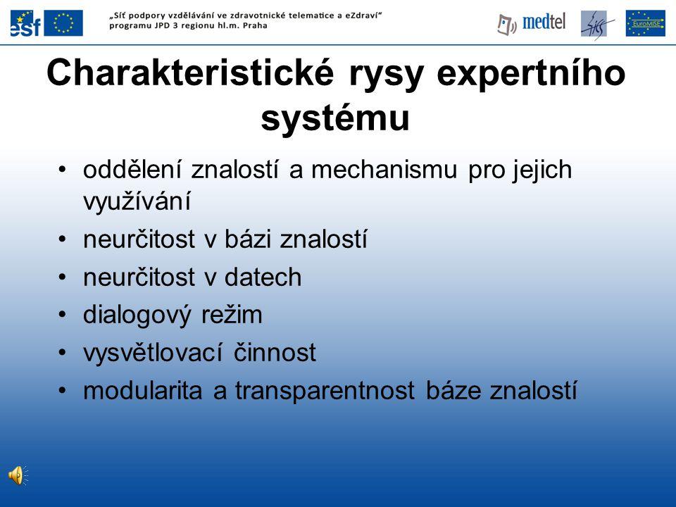 Charakteristické rysy expertního systému oddělení znalostí a mechanismu pro jejich využívání neurčitost v bázi znalostí neurčitost v datech dialogový režim vysvětlovací činnost modularita a transparentnost báze znalostí