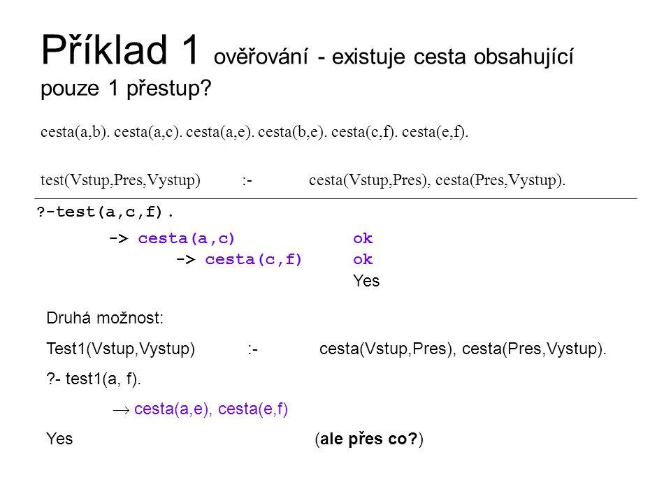 Příklad 1 hledání - která cesta vyhovuje.cesta(a,b).