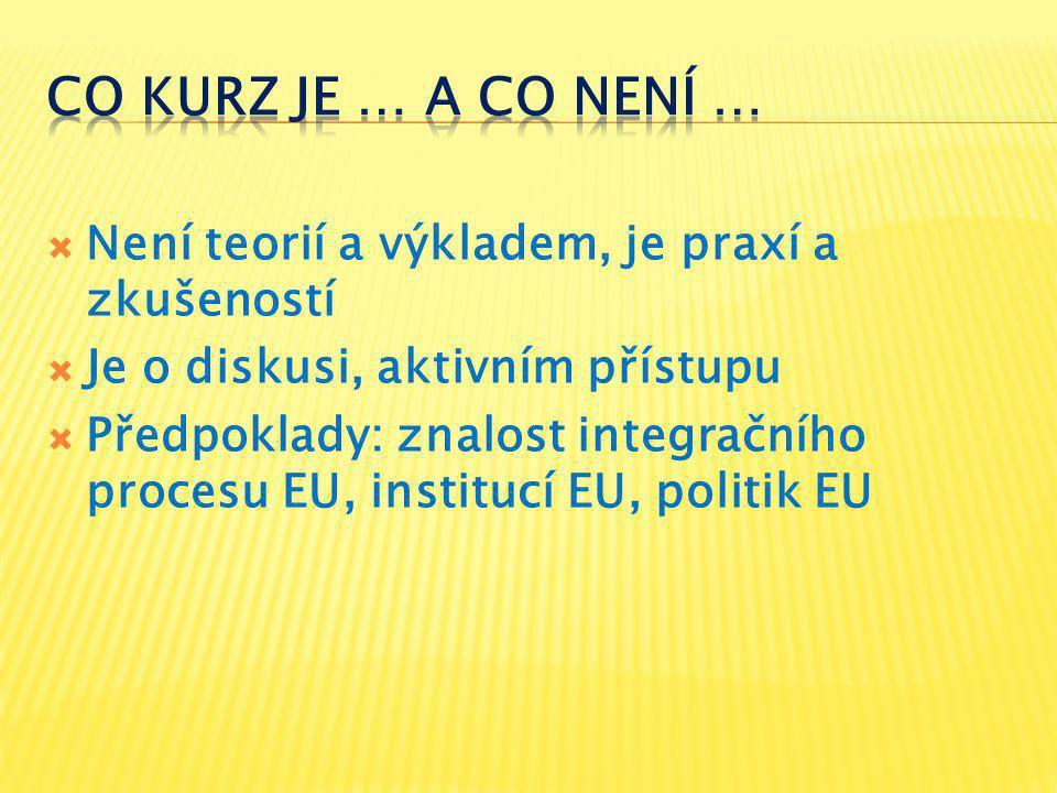  Není teorií a výkladem, je praxí a zkušeností  Je o diskusi, aktivním přístupu  Předpoklady: znalost integračního procesu EU, institucí EU, politik EU
