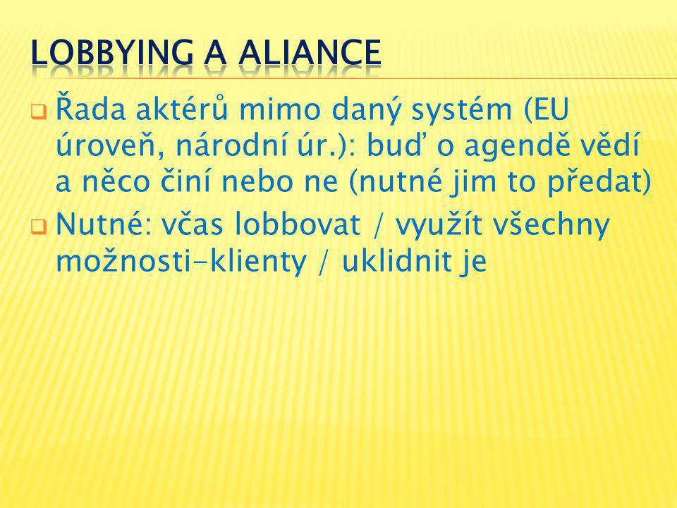  Řada aktérů mimo daný systém (EU úroveň, národní úr.): buď o agendě vědí a něco činí nebo ne (nutné jim to předat)  Nutné: včas lobbovat / využít všechny možnosti-klienty / uklidnit je