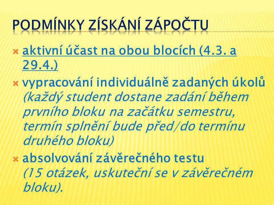  aktivní účast na obou blocích (4.3.