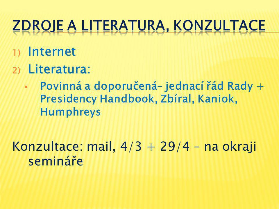 1) Internet 2) Literatura:  Povinná a doporučená– jednací řád Rady + Presidency Handbook, Zbíral, Kaniok, Humphreys Konzultace: mail, 4/3 + 29/4 – na okraji semináře