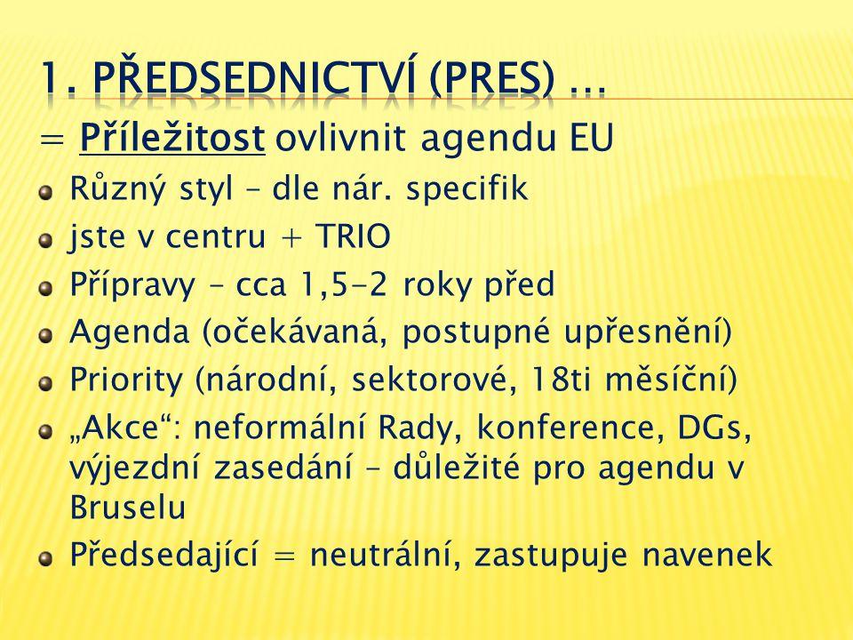 = Příležitost ovlivnit agendu EU Různý styl – dle nár. specifik jste v centru + TRIO Přípravy – cca 1,5-2 roky před Agenda (očekávaná, postupné upřesn
