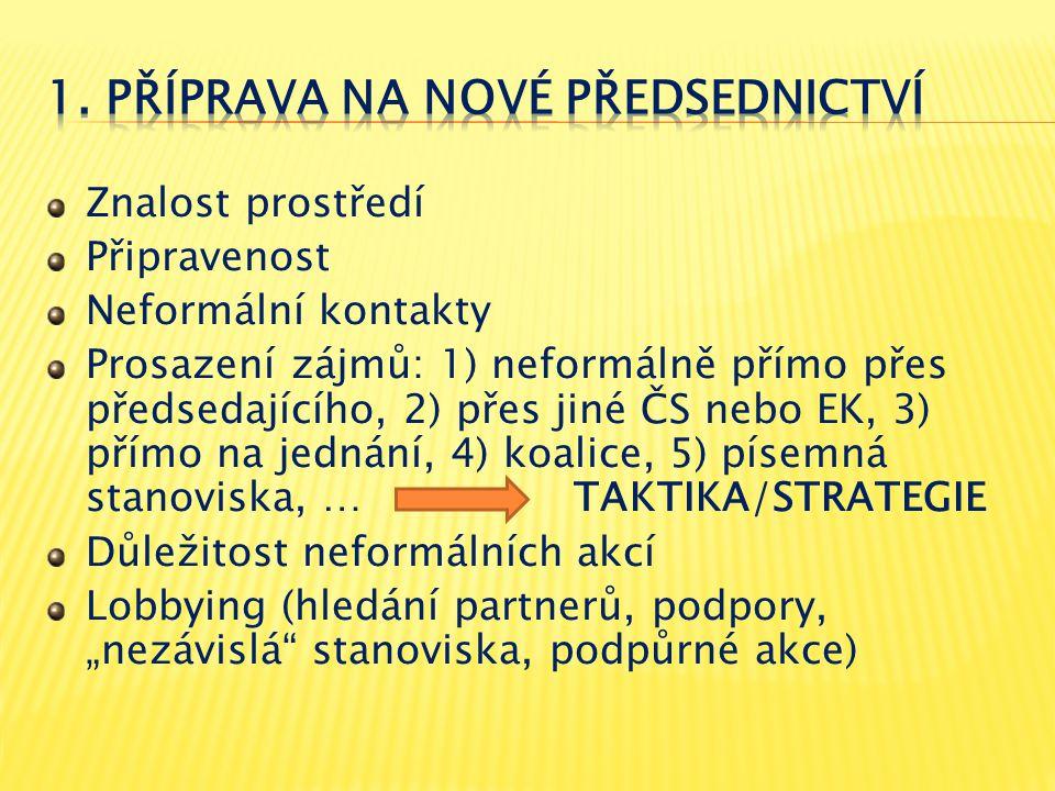 Znalost prostředí Připravenost Neformální kontakty Prosazení zájmů: 1) neformálně přímo přes předsedajícího, 2) přes jiné ČS nebo EK, 3) přímo na jedn