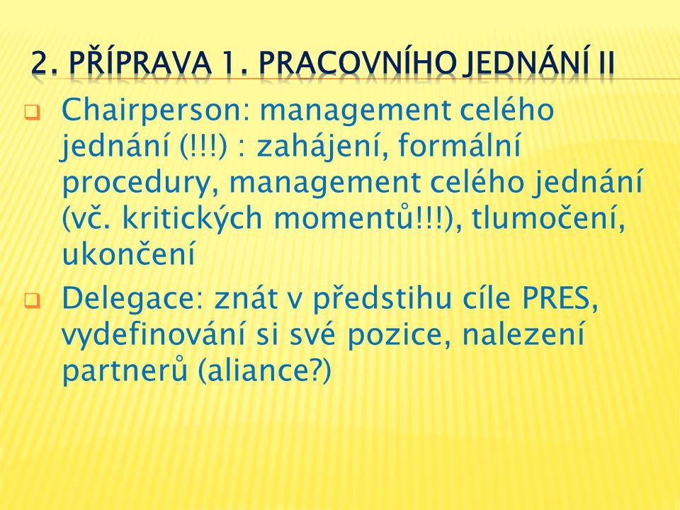  Chairperson: management celého jednání (!!!) : zahájení, formální procedury, management celého jednání (vč. kritických momentů!!!), tlumočení, ukonč
