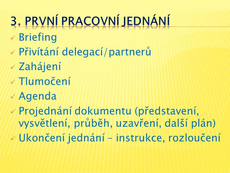 Briefing Přivítání delegací/partnerů Zahájení Tlumočení Agenda Projednání dokumentu (představení, vysvětlení, průběh, uzavření, další plán) Ukončení j