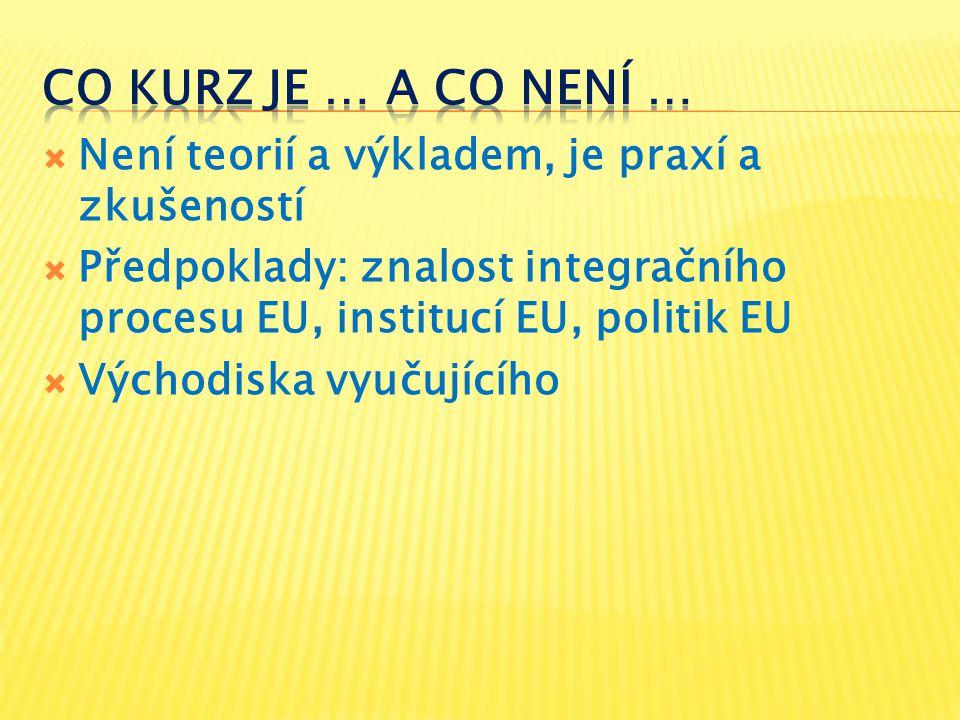  Není teorií a výkladem, je praxí a zkušeností  Předpoklady: znalost integračního procesu EU, institucí EU, politik EU  Východiska vyučujícího