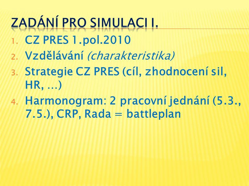 1. CZ PRES 1.pol.2010 2. Vzdělávání (charakteristika) 3. Strategie CZ PRES (cíl, zhodnocení sil, HR, …) 4. Harmonogram: 2 pracovní jednání (5.3., 7.5.