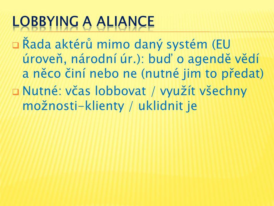  Řada aktérů mimo daný systém (EU úroveň, národní úr.): buď o agendě vědí a něco činí nebo ne (nutné jim to předat)  Nutné: včas lobbovat / využít v