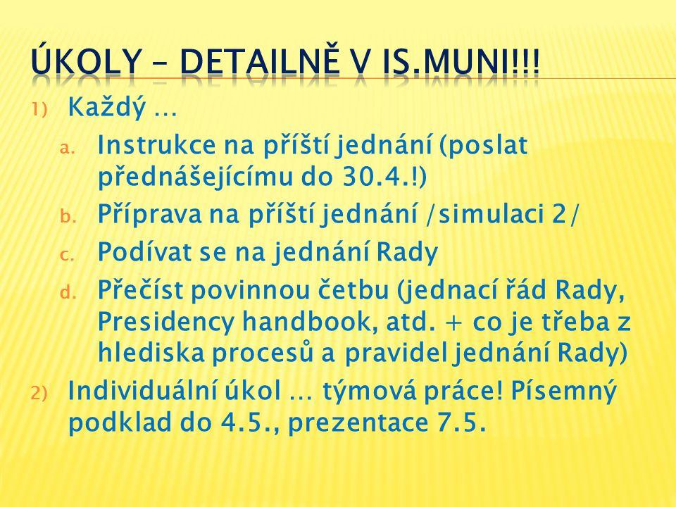 1) Každý … a. Instrukce na příští jednání (poslat přednášejícímu do 30.4.!) b.