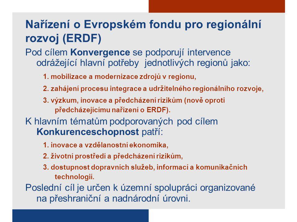 Nařízení o Evropském fondu pro regionální rozvoj (ERDF) Pod cílem Konvergence se podporují intervence odrážející hlavní potřeby jednotlivých regionů jako: 1.