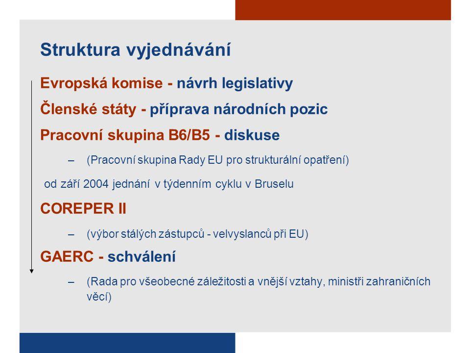Struktura vyjednávání Evropská komise - návrh legislativy Členské státy - příprava národních pozic Pracovní skupina B6/B5 - diskuse –(Pracovní skupina Rady EU pro strukturální opatření) od září 2004 jednání v týdenním cyklu v Bruselu COREPER II –(výbor stálých zástupců - velvyslanců při EU) GAERC - schválení –(Rada pro všeobecné záležitosti a vnější vztahy, ministři zahraničních věcí)