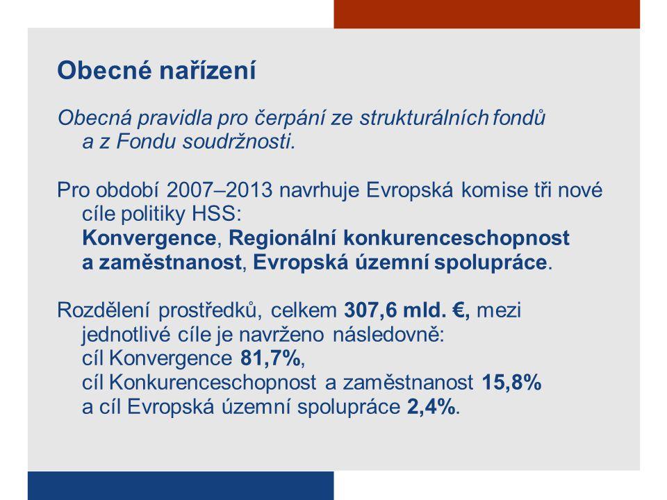 Obecné nařízení Obecná pravidla pro čerpání ze strukturálních fondů a z Fondu soudržnosti.