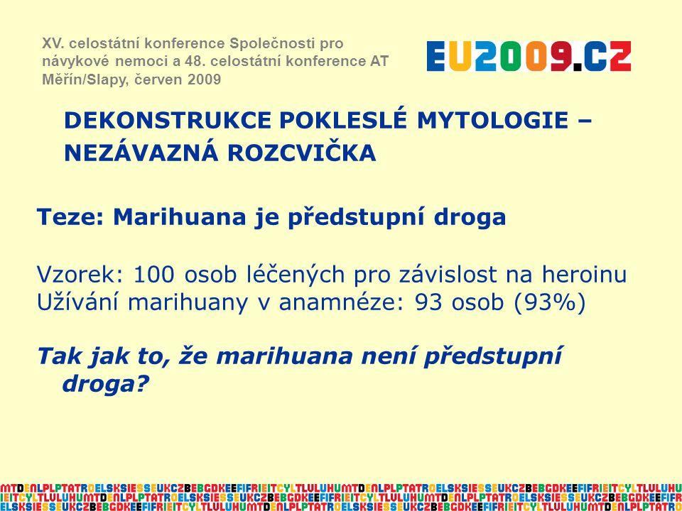 Teze: Marihuana je předstupní droga Vzorek: 100 osob léčených pro závislost na heroinu Užívání marihuany v anamnéze: 93 osob (93%) Tak jak to, že mari