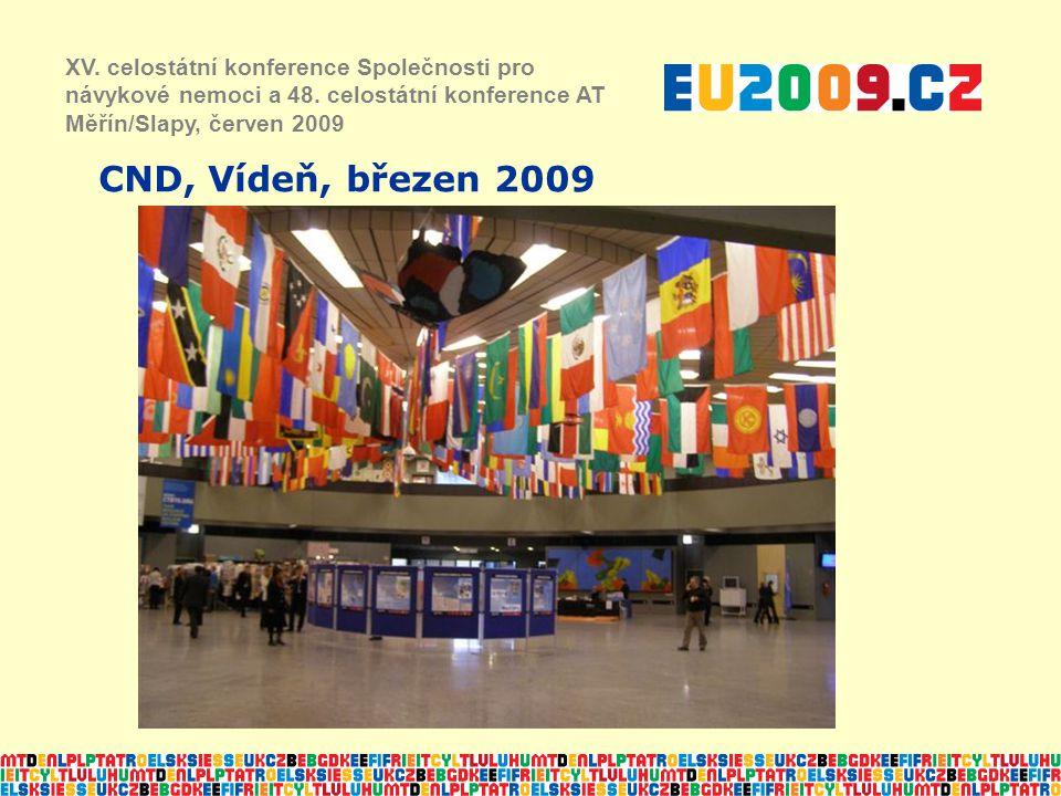 CND, Vídeň, březen 2009 XV. celostátní konference Společnosti pro návykové nemoci a 48. celostátní konference AT Měřín/Slapy, červen 2009