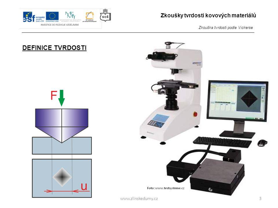 www.zlinskedumy.cz DEFINICE TVRDOSTI Tvrdost je odpor, který materiál klade proti vnikání cizího tělesa. 3 Zkoušky tvrdosti kovových materiálů Zkouška