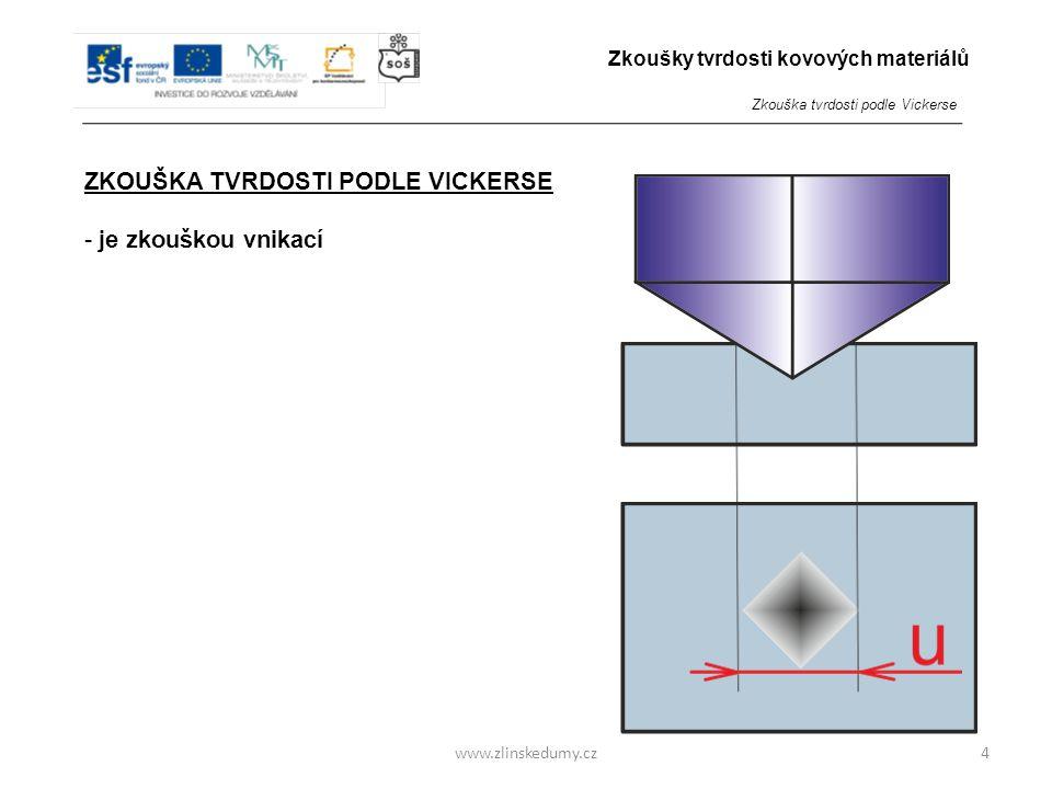 www.zlinskedumy.cz ZKOUŠKA TVRDOSTI PODLE VICKERSE - je zkouškou vnikací - do zkoumaného materiálu je zatlačováno tvrdší zkušební těleso přesného tvar