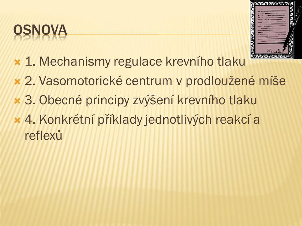  1. Mechanismy regulace krevního tlaku  2. Vasomotorické centrum v prodloužené míše  3. Obecné principy zvýšení krevního tlaku  4. Konkrétní příkl
