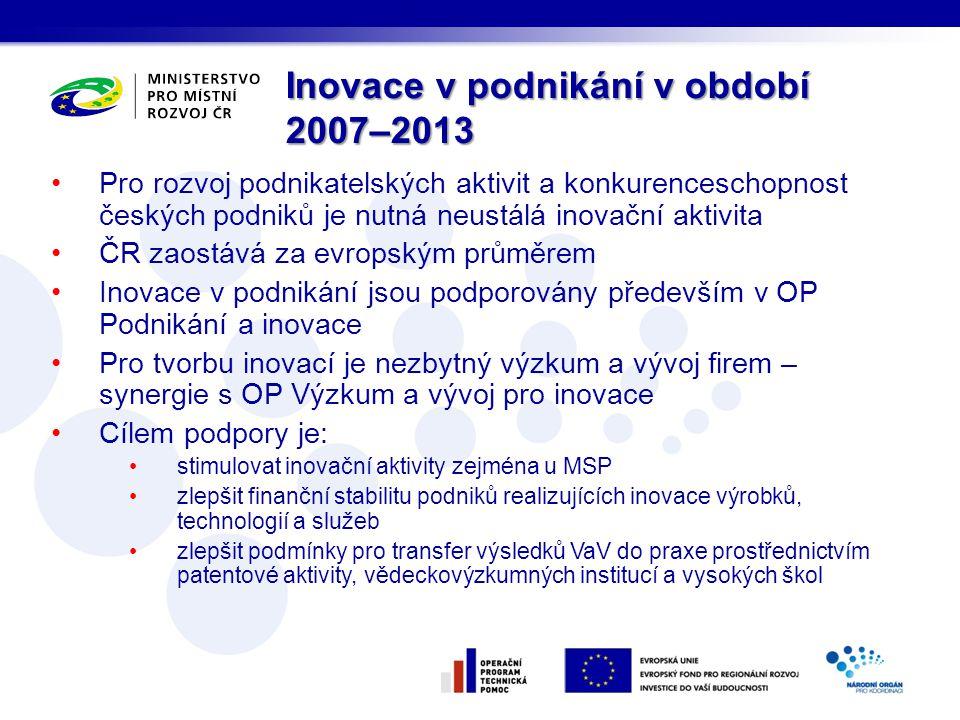 Inovace v podnikání v období 2007–2013 Pro rozvoj podnikatelských aktivit a konkurenceschopnost českých podniků je nutná neustálá inovační aktivita ČR