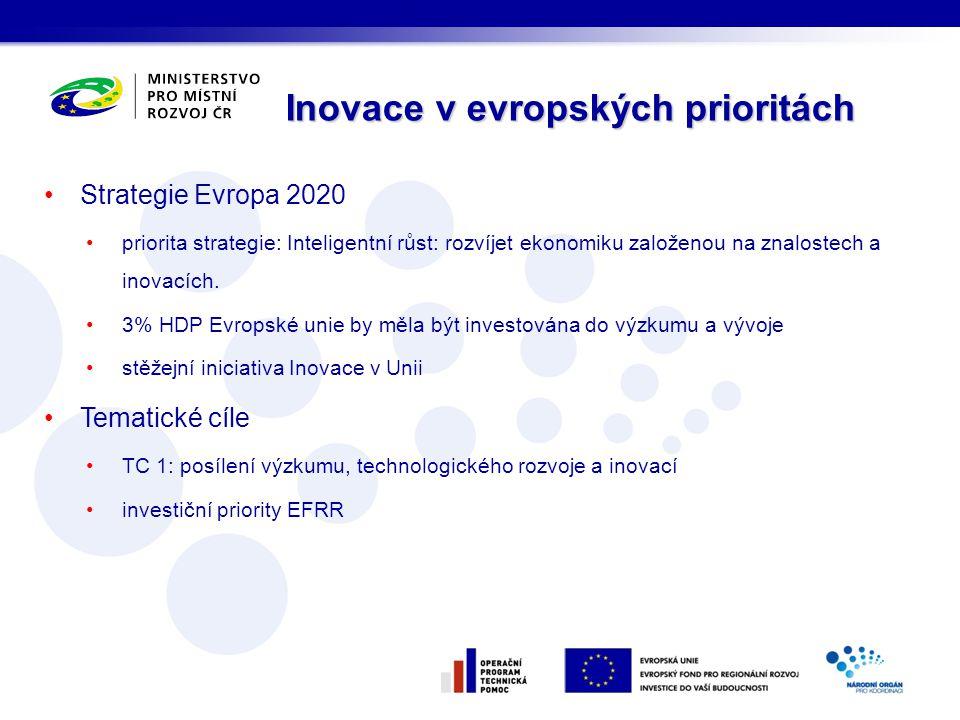 Strategie Evropa 2020 priorita strategie: Inteligentní růst: rozvíjet ekonomiku založenou na znalostech a inovacích. 3% HDP Evropské unie by měla být