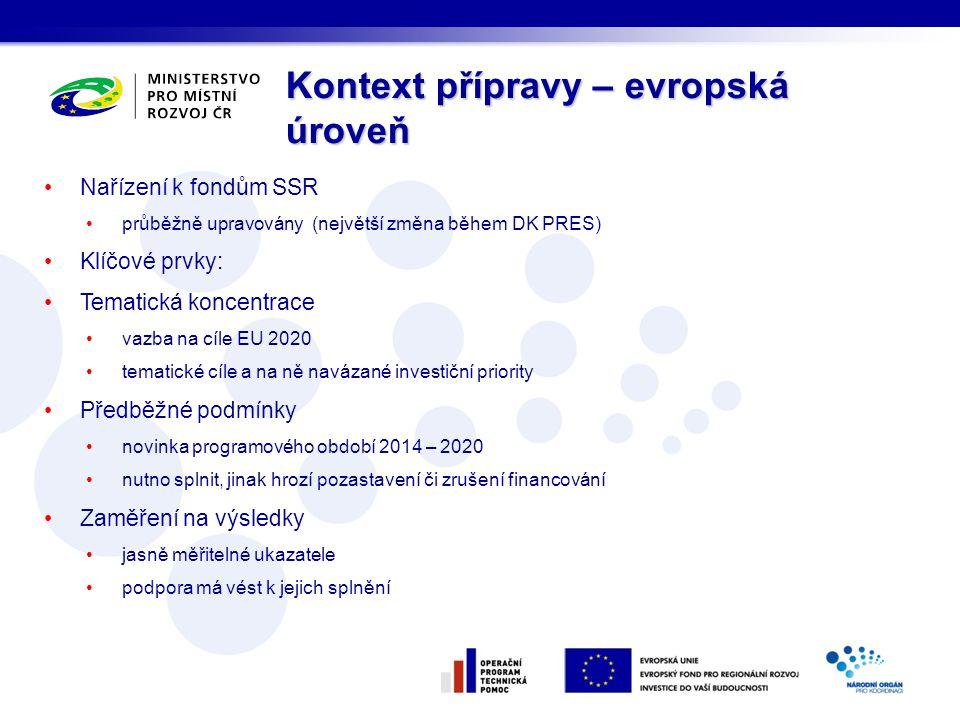 Nařízení k fondům SSR průběžně upravovány (největší změna během DK PRES) Klíčové prvky: Tematická koncentrace vazba na cíle EU 2020 tematické cíle a n