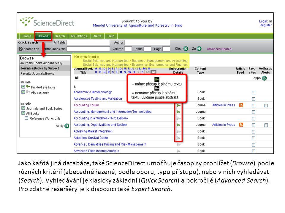 Jako každá jiná databáze, také ScienceDirect umožňuje časopisy prohlížet (Browse) podle různých kritérií (abecedně řazené, podle oboru, typu přístupu)