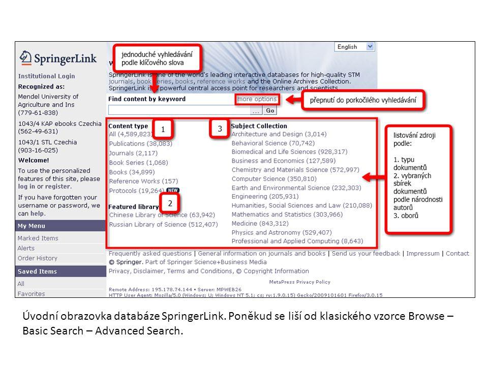 Úvodní obrazovka databáze SpringerLink. Poněkud se liší od klasického vzorce Browse – Basic Search – Advanced Search.