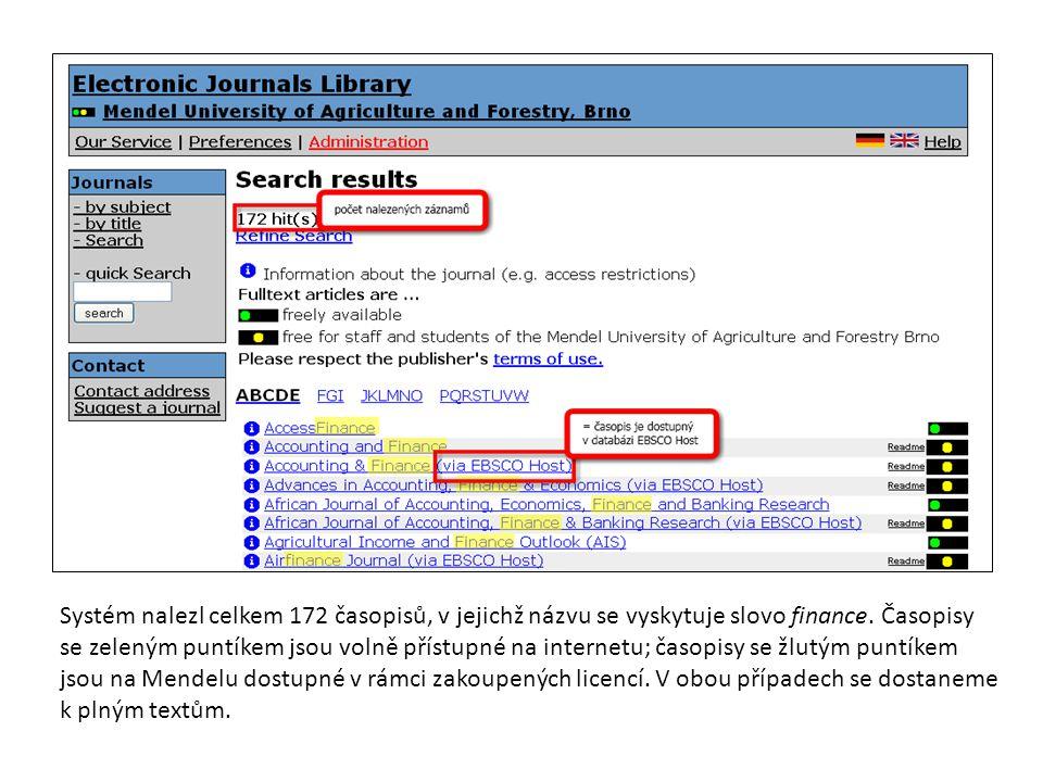 Systém nalezl celkem 172 časopisů, v jejichž názvu se vyskytuje slovo finance. Časopisy se zeleným puntíkem jsou volně přístupné na internetu; časopis