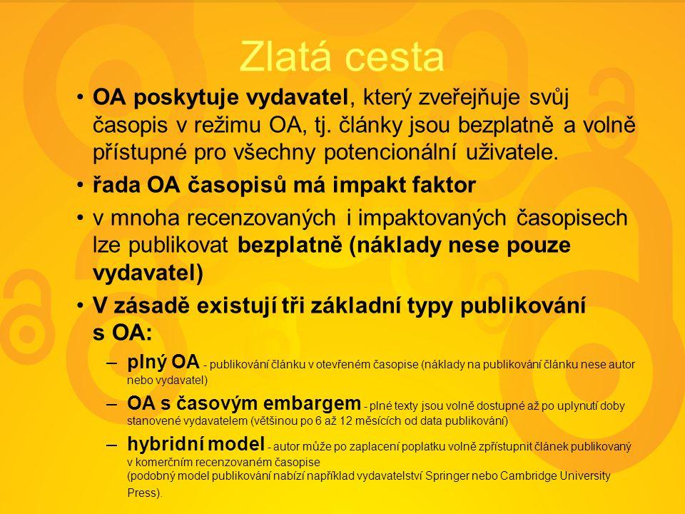 Zlatá cesta OA poskytuje vydavatel, který zveřejňuje svůj časopis v režimu OA, tj. články jsou bezplatně a volně přístupné pro všechny potencionální u