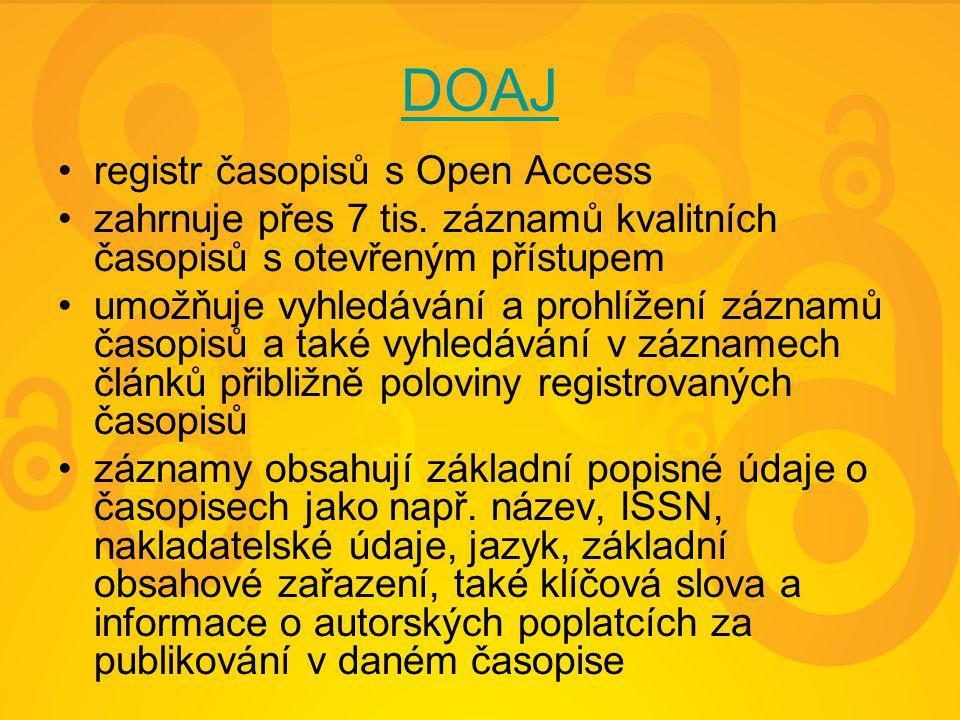 DOAJ registr časopisů s Open Access zahrnuje přes 7 tis.