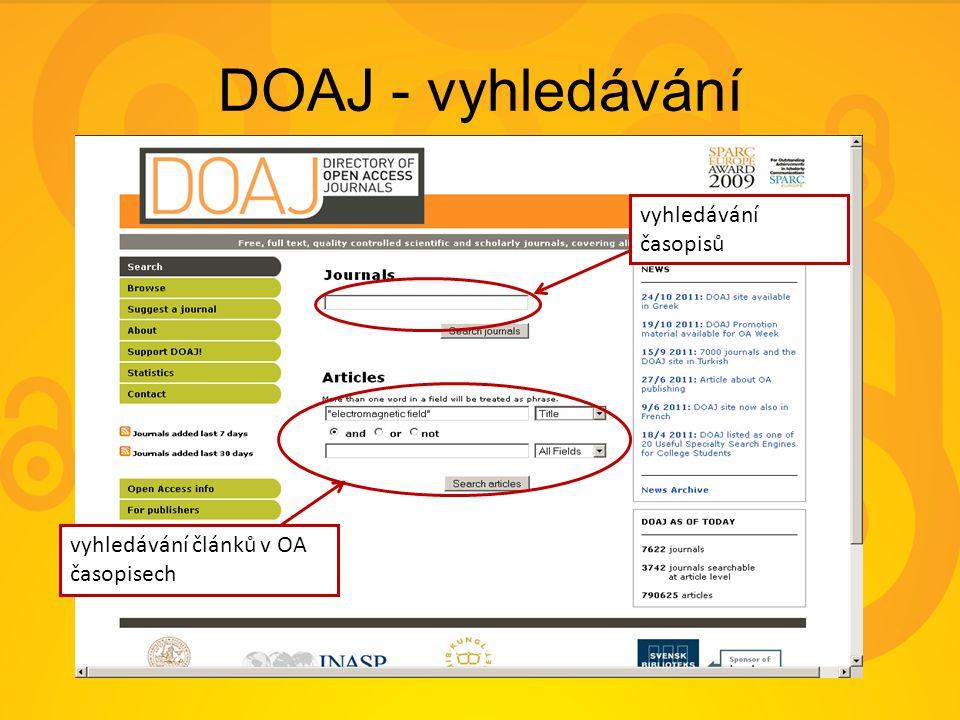 DOAJ - vyhledávání vyhledávání časopisů vyhledávání článků v OA časopisech