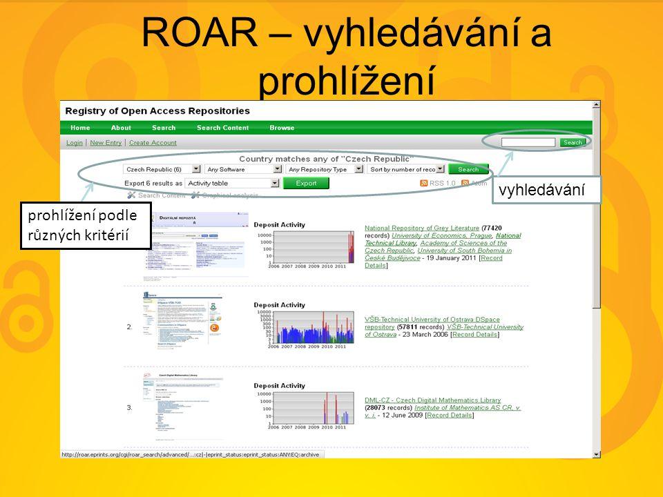 ROAR – vyhledávání a prohlížení vyhledávání prohlížení podle různých kritérií