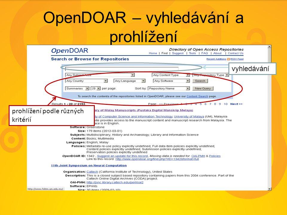 OpenDOAR – vyhledávání a prohlížení vyhledávání prohlížení podle různých kritérií