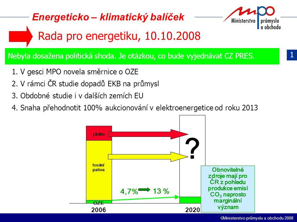  Ministerstvo průmyslu a obchodu 2008 Energeticko – klimatický balíček 1 Rada pro energetiku, 10.10.2008 Nebyla dosažena politická shoda.
