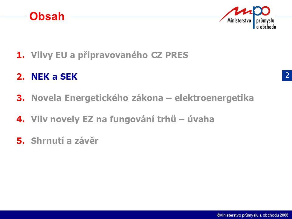  Ministerstvo průmyslu a obchodu 2008 Obsah 1.Vlivy EU a připravovaného CZ PRES 2.NEK a SEK 3.Novela Energetického zákona – elektroenergetika 4.Vliv novely EZ na fungování trhů – úvaha 5.Shrnutí a závěr 2