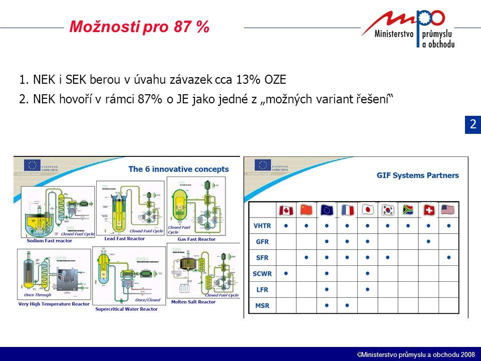 """ Ministerstvo průmyslu a obchodu 2008 Možnosti pro 87 % 1. NEK i SEK berou v úvahu závazek cca 13% OZE 2. NEK hovoří v rámci 87% o JE jako jedné z """"m"""