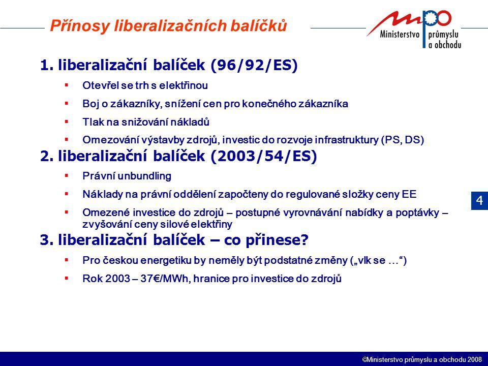  Ministerstvo průmyslu a obchodu 2008 1. liberalizační balíček (96/92/ES)  Otevřel se trh s elektřinou  Boj o zákazníky, snížení cen pro konečného