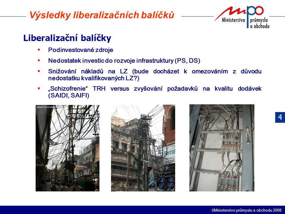 """ Ministerstvo průmyslu a obchodu 2008 Liberalizační balíčky  Podinvestované zdroje  Nedostatek investic do rozvoje infrastruktury (PS, DS)  Snižování nákladů na LZ (bude docházet k omezováním z důvodu nedostatku kvalifikovaných LZ )  """"Schizofrenie TRH versus zvyšování požadavků na kvalitu dodávek (SAIDI, SAIFI) Výsledky liberalizačních balíčků 4"""