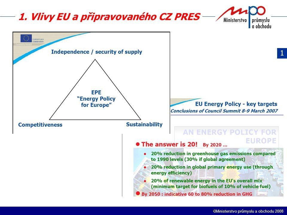  Ministerstvo průmyslu a obchodu 2008 Obsah 1.Vlivy EU a připravovaného CZ PRES 2.NEK a SEK 3.Novela Energetického zákona – elektroenergetika 4.Vliv novely EZ na fungování trhů – úvaha 5.Shrnutí a závěr 3