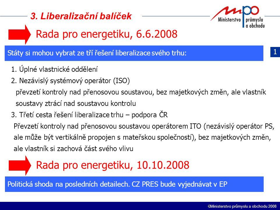  Ministerstvo průmyslu a obchodu 2008 3. Liberalizační balíček 1 Rada pro energetiku, 6.6.2008 Státy si mohou vybrat ze tří řešení liberalizace svého