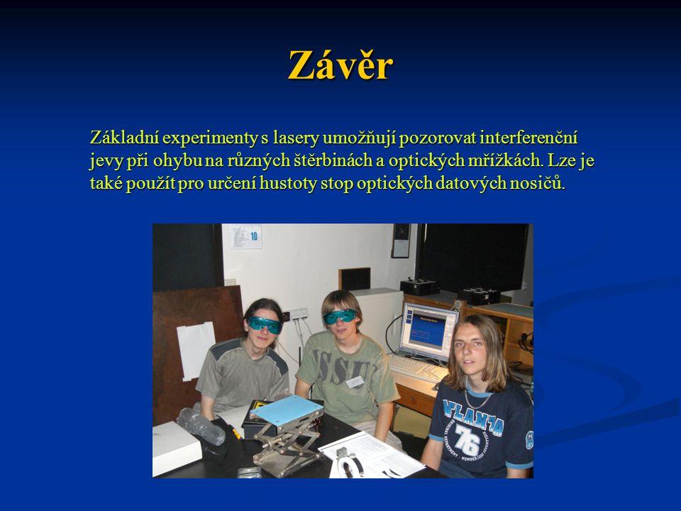 Závěr Základní experimenty s lasery umožňují pozorovat interferenční jevy při ohybu na různých štěrbinách a optických mřížkách. Lze je také použít pro