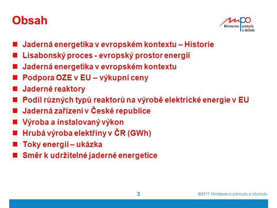  2011  Ministerstvo průmyslu a obchodu Obsah Jaderná energetika v evropském kontextu – Historie Lisabonský proces - evropský prostor energií Jaderná energetika v evropském kontextu Podpora OZE v EU – výkupní ceny Jaderné reaktory Podíl různých typů reaktorů na výrobě elektrické energie v EU Jaderná zařízení v České republice Výroba a instalovaný výkon Hrubá výroba elektřiny v ČR (GWh) Toky energií – ukázka Směr k udržitelné jaderné energetice 3