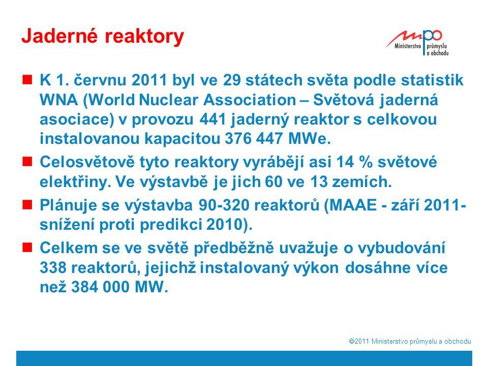  2011  Ministerstvo průmyslu a obchodu Podíl různých typů reaktorů na výrobě elektrické energie v EU 9 BWR Boiling Water Reactor FBR Fast Breader Reactor GCR Gas Cooled Reactor LWGR/RBMK Light Water Grafite Reactor PHWR Pressurised Heavy Water Reactor PWR/VVER Pressurised Water Reactor Celkem143 reaktorů134 412 MWe instalované kapacity