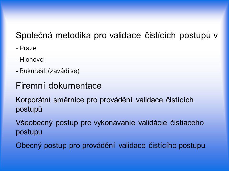 Společná metodika pro validace čistících postupů v - Praze - Hlohovci - Bukurešti (zavádí se) Firemní dokumentace Korporátní směrnice pro provádění va